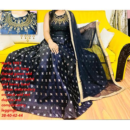 Tafeta Silk Long Gown With Net Dupatta