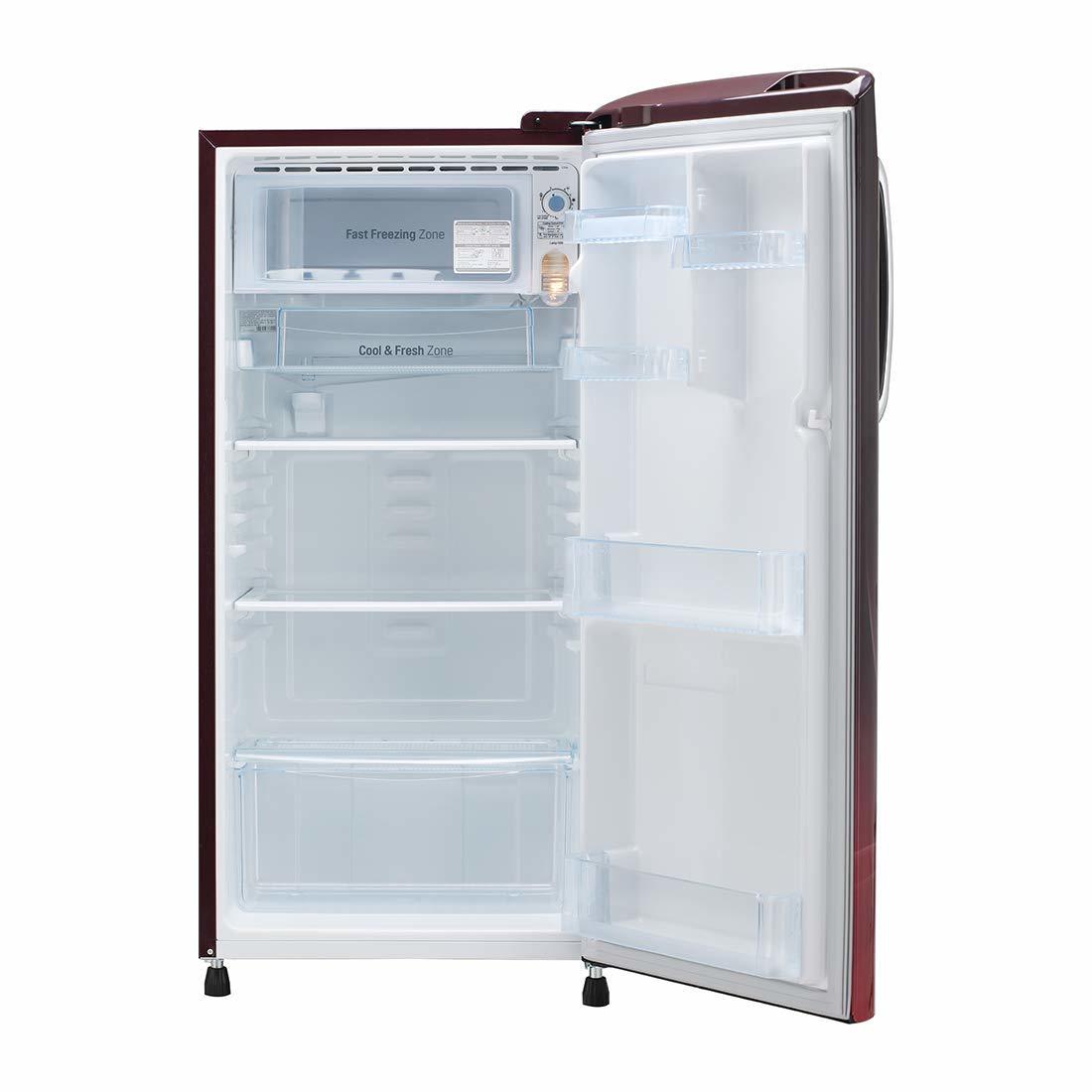 LG 190 L 5 Star ( 2019 ) Inverter Direct-Cool Single Door Refrigerator (GL-B201ASPY, Scarlet Plumeria)