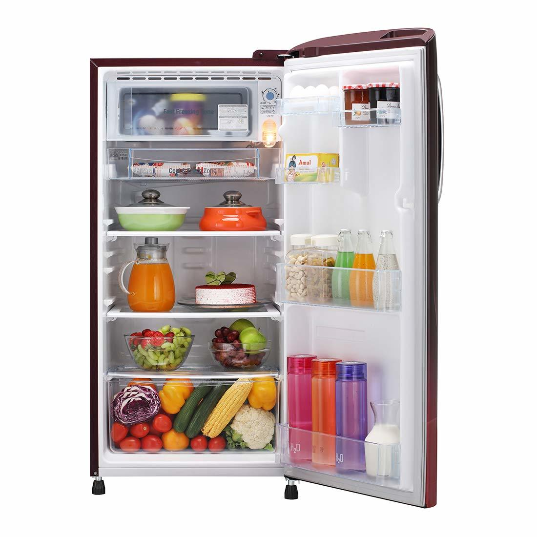LG 190 L 5 Star ( 2019 ) Inverter Direct-Cool Single Door Refrigerator (GL-B201ASPY, Scarlet Plumeria)