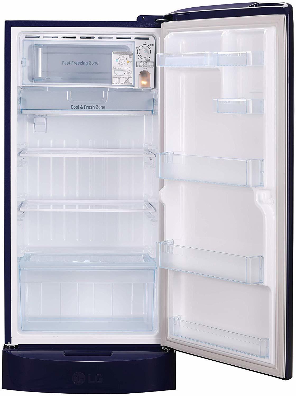 LG 215 L 5 Star ( 2019 ) Inverter Direct Cool Single Door Refrigerator (GL-D221ABGY, Blue Glow)
