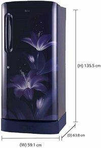 LG 215 L 5 Star ( 2019 ) Inverter Direct Cool Single Door Refrigerator (GL-D221ABGY, Blue Glow)