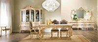 antique gold 6 seater dining table