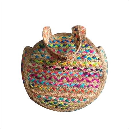 Cotton Chindi Round Jute Bag