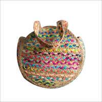 Cotton Chindi Round Jute Bag
