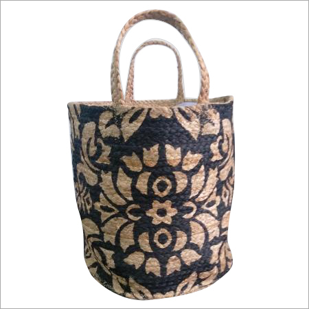 Designer Printed Braided Jute Bag