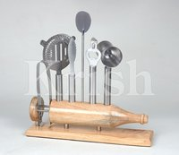 Professional Bar tool set W Wood Stand - 7 Pcs