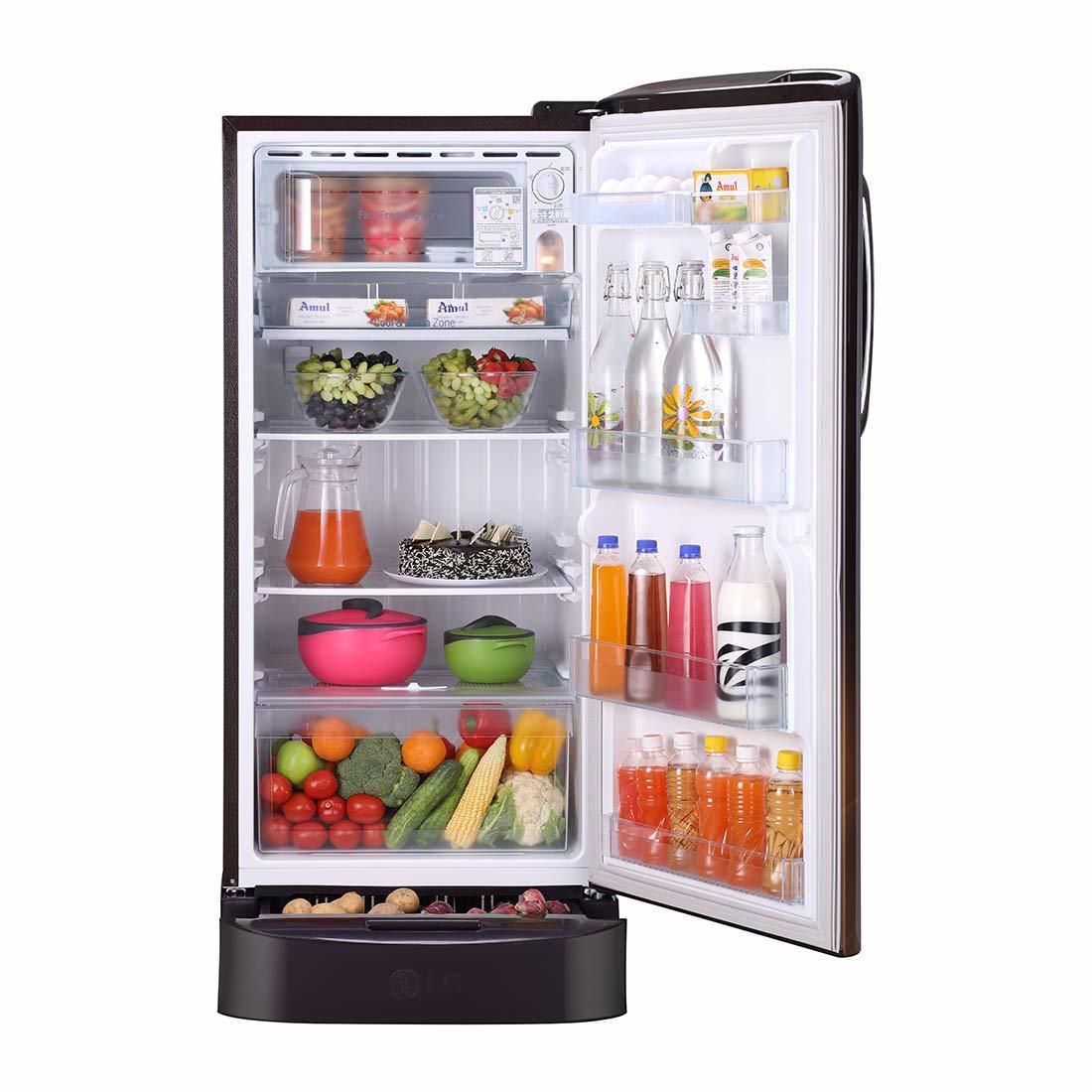 LG 215 L 5 Star ( 2019 ) Inverter Direct Cool Single Door Refrigerator (GL-D221AHPY, Hazel Plumeria)