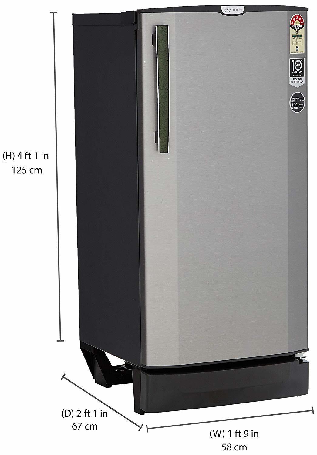 Godrej 190 L 5 Star ( 2019 ) Inverter Direct-Cool Single-Door Refrigerator (RD EPRO 205 TAI 5.2 SNY STL, Shiny Steel)