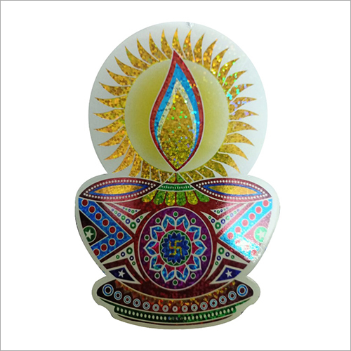 Colorful Sticker Rangoli Diya Print Paper