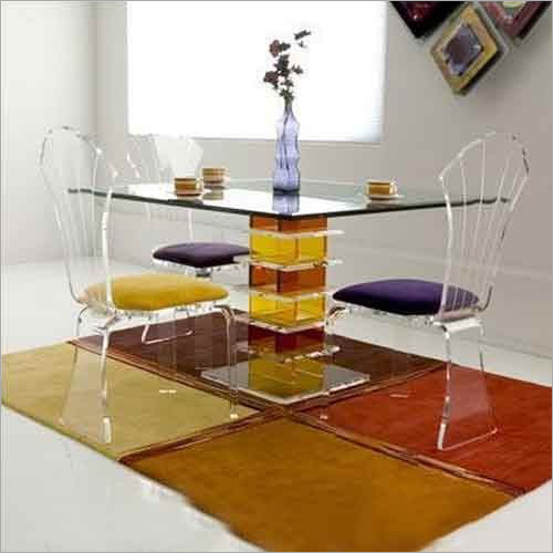 Acrylic Square Dining Table Set