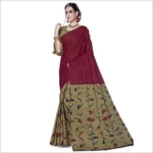 Marron Cotton Printed Designer Fancy Saree