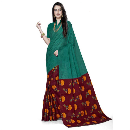 Green Cotton Printed Designer Fancy Saree