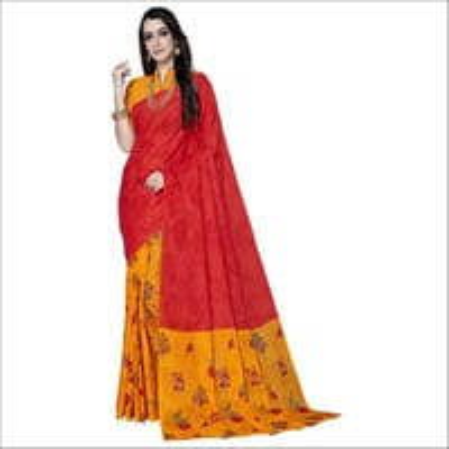 Red Cotton Printed Designer Fancy Saree