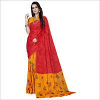 Red Cotton Printed Designer Fancy Saree