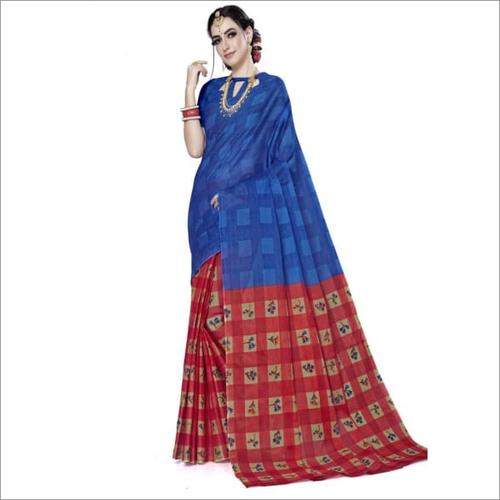 Blue Cotton Printed Designer Fancy Saree