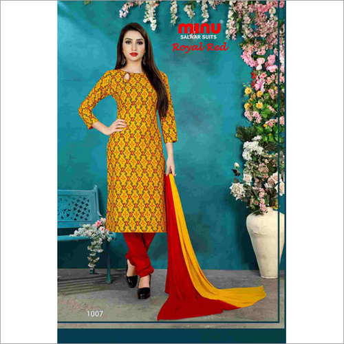 Yellow Minu Cotton Printed Salwar Suit