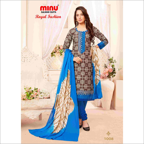 Brown Minu Cotton Printed Unstitched Salwar Suit