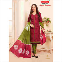Red Minu Cotton Printed Unstitched Salwar Suit