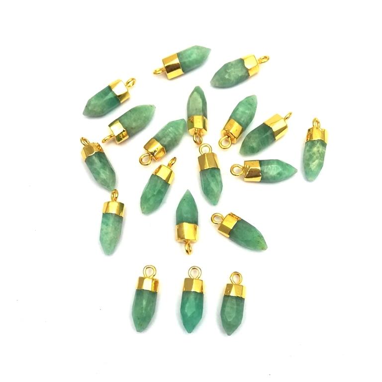 Amazonite Little Spike Gold Cap Gemstone Pendant