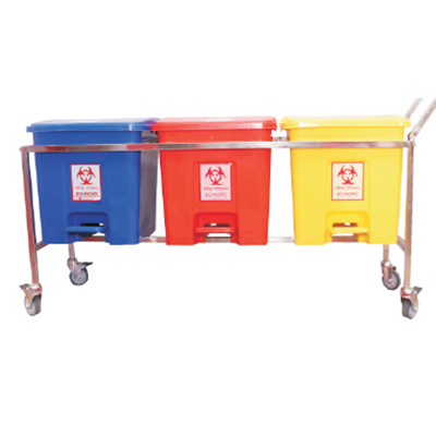 32ltr SS 3 Bin Set With Wheel and Handle