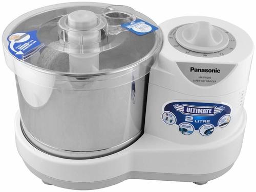 panasonic 230-watt plastic wet grinder with automatic timer, 2 litres, white and metallic