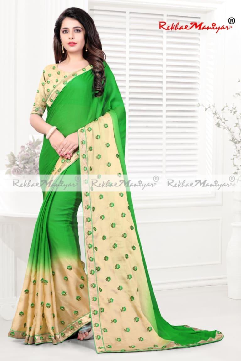 Two Tone Shaded Embroidery Small Butta Panel Work Saree