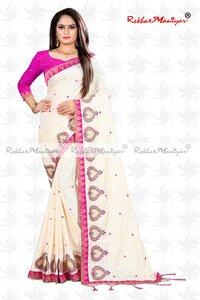 Sana Silk Embroidery Mirror Work Designer Saree