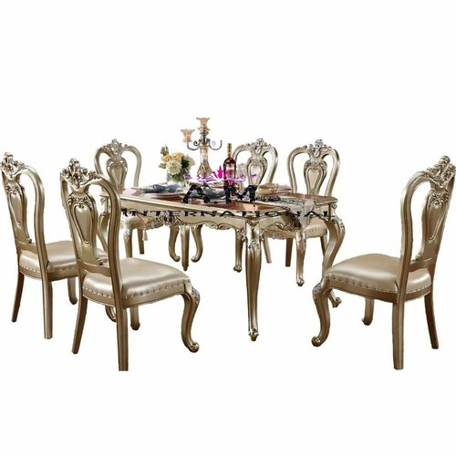 wooden traditional dining table set
