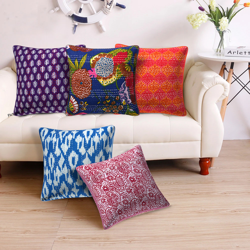Indian Kantha Cushion Cover