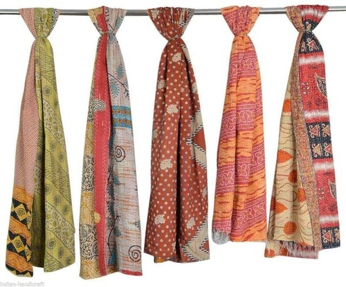Vintage Cotton Kantha Work Scarves