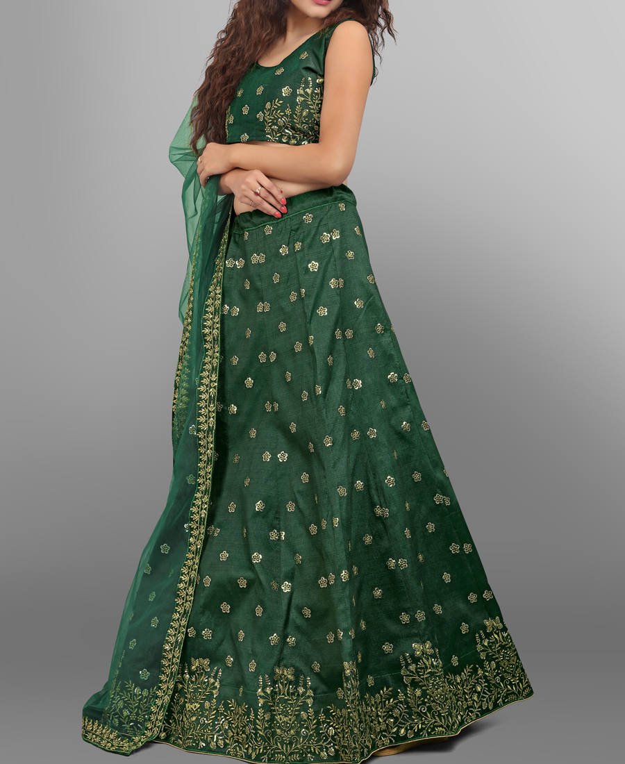 Beautiful Green Phantom Silk Sequence Work Lehenga Choli