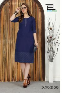 Denim Print Kurti With side Cut
