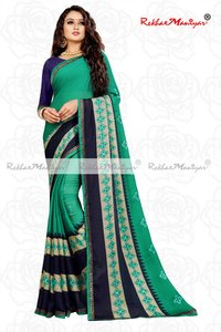 Moss Chiffon Embroidery panel Mirror Work Saree