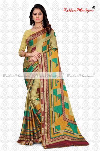 Two Tone Rangoli Silk Jacquard Shaded Geometrical Printed Saree