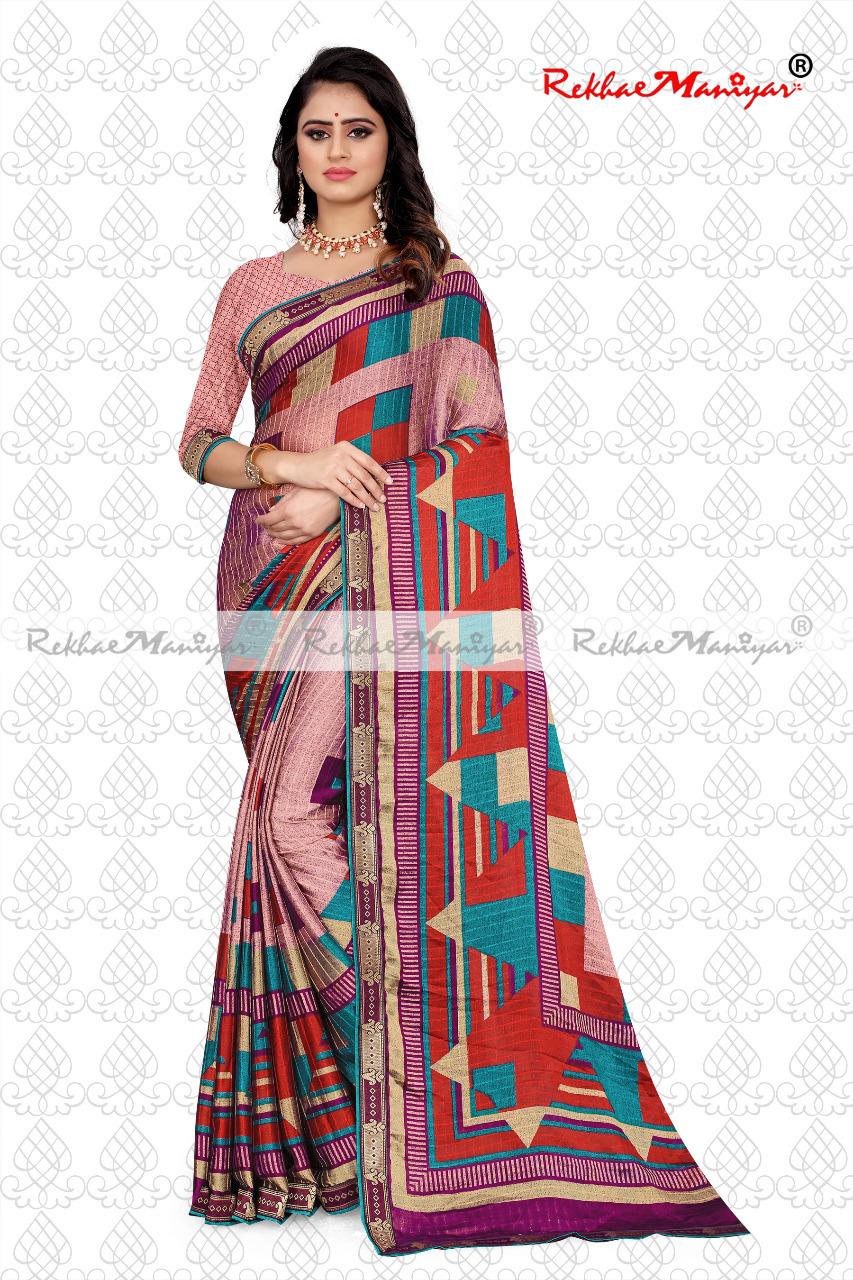 Two Tone Rangoli Silk Jacquard Shaded Geometrical Printed Saree