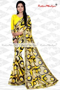 Faux Georgette Geometrical Print Zari Bordered Sarees