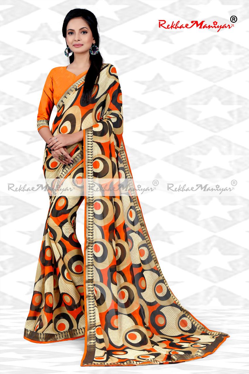 Faux Georgette Geometrical Print Zari Bordered Sarees
