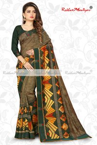 Two Tone Vichitra Silk Shaded Geometrical Printed Saree