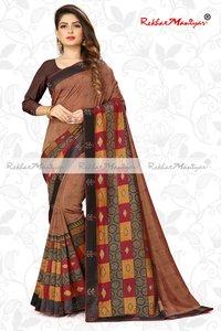 Two Tone Vichitra Silk Shaded Geometrical Printed Saree