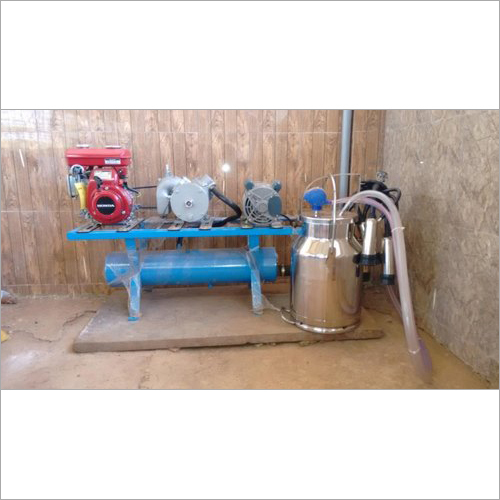 Single Can Fixed Type Motor Cum Engine Operated Milking Machine