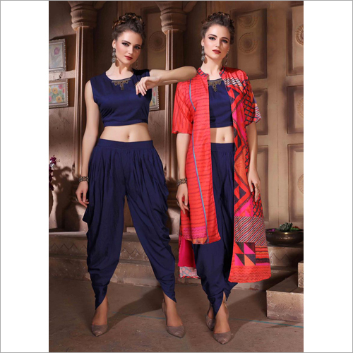 Dhoti Top With Printed Shrug Set