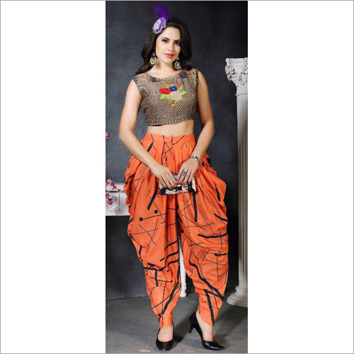 Dhoti With Crop Top Set