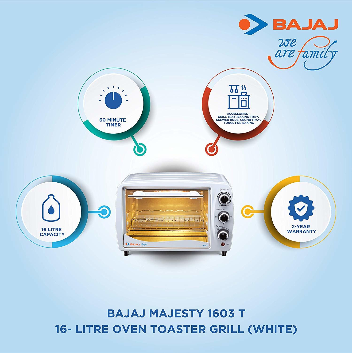 Bajaj Majesty 1603 T 16-Litre Oven Toaster Grill (White)