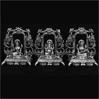 Lord Ganesh Laxmi And Saraswati Silver  Statue