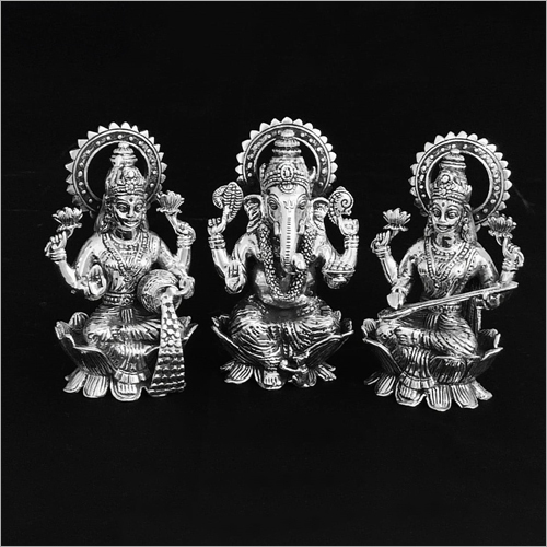 Ganesh Laxmi And Saraswati God Silver Statue