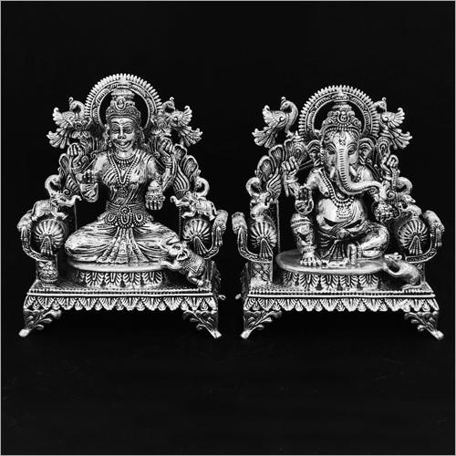 Lord Laxmi Ganesh Silver Statue