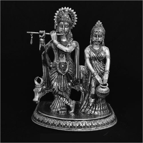 Lord Krishan And Radha Silver Statue