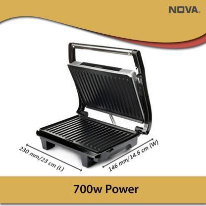 Nova 2 Slice Panni Grill Sandwich Maker Grill, Toast  (Black)