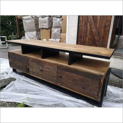 wooden led table with drawer