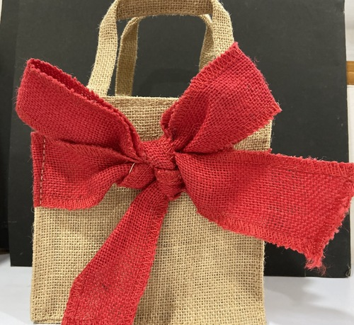 Small gift bow jute bag
